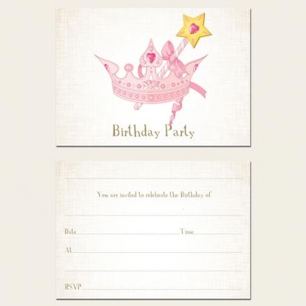 Ready to Write Kids Birthday Invitations - Princess Tiara - Pack of 10