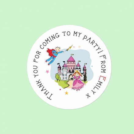 Princess and Superhero Party - Sweet Bag Stickers - Pack of 35