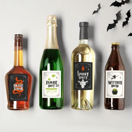 Pumpkin Trio - Halloween Bottle Labels - Assorted Pack of 9