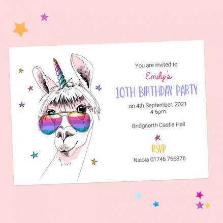 Kids Birthday Invitations - Rainbow Llamacorn - Pack of 10