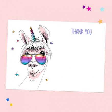 Ready to Write Kids Thank You Cards - Rainbow Llamacorn