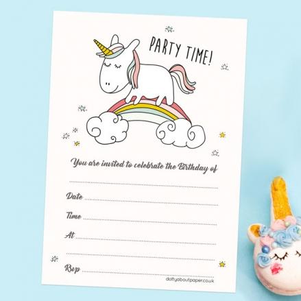 Childrens Birthday Invitations - Rainbow Unicorn - Pack of 10