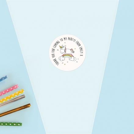 Rainbow Unicorn - Sweet Cone Bag & Sticker - Pack of 35