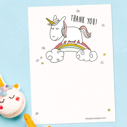 Ready to Write Childrens Thank You Cards - Rainbow Unicorn - Pack of 10