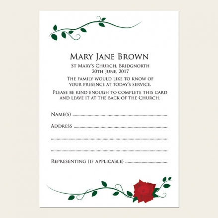Funeral Attendance Cards - Red Rose Scroll
