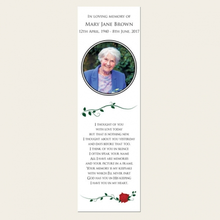 Funeral Bookmark - Red Rose Scroll