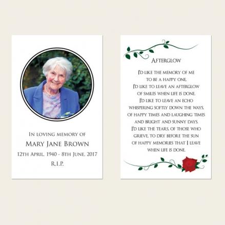 Funeral Memorial Cards - Red Rose Scroll