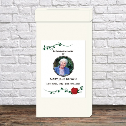 Funeral Post Box - Red Rose Scroll