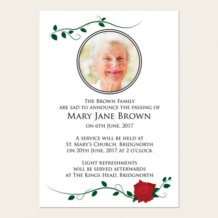Funeral Announcement Cards - Red Rose Scroll