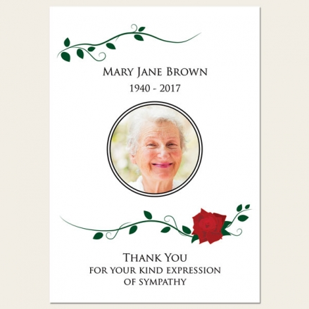 Funeral Thank You Cards - Red Rose Scroll