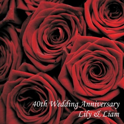 40th Wedding Anniversary Invitations - Red Roses