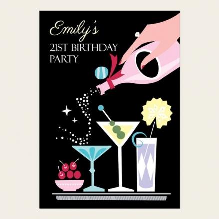 21st Birthday Invitations - Retro Cocktails