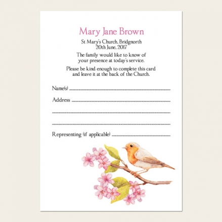 Funeral Attendance Cards - Robin & Blossom