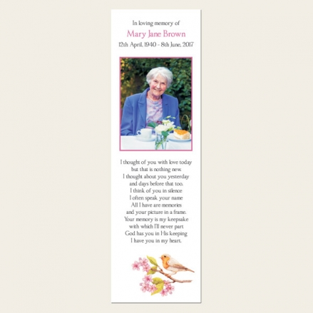 Funeral Bookmark - Robin & Blossom