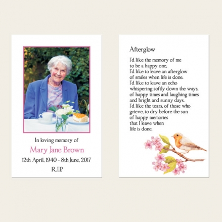 Funeral Memorial Cards - Robin & Blossom