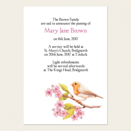 Funeral Announcement Cards - Robin & Blossom