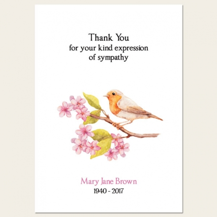 Funeral Thank You Cards - Robin & Blossom