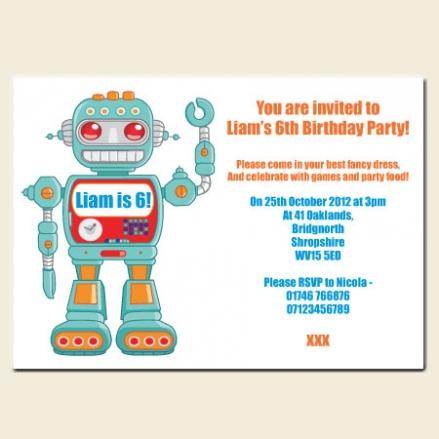 Personalised Kids Birthday Invitations - Robot - Pack of 10
