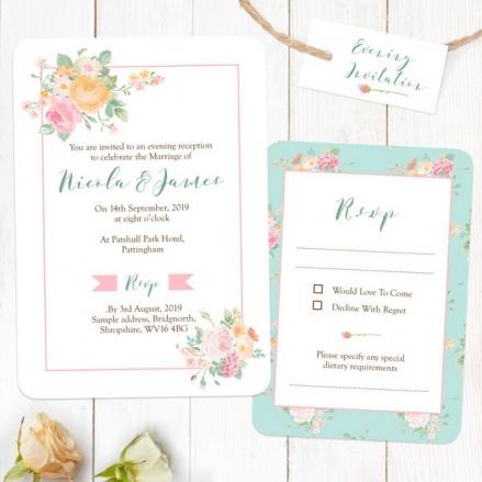 Romantic Floral - Boutique Evening Invitation & RSVP