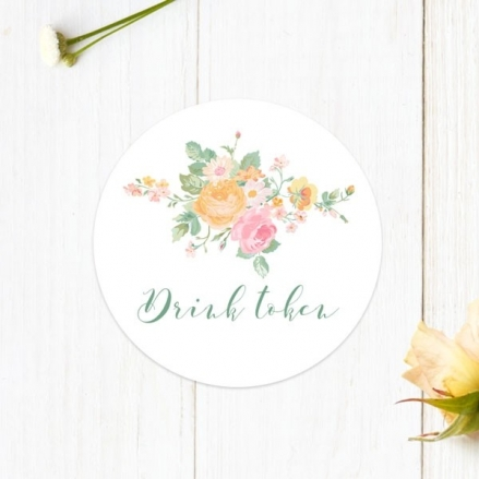 Romantic Floral - Drink Tokens - Pack of 30