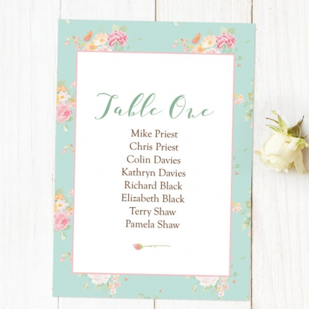Romantic Floral - Table Plan Cards