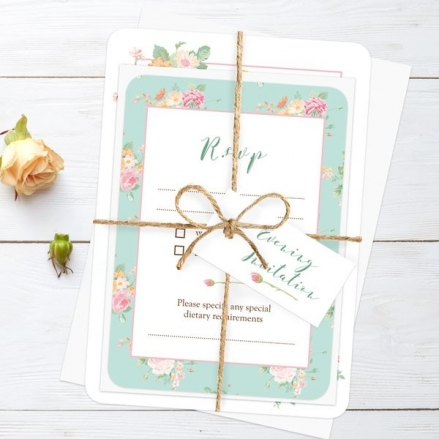 Romantic Floral - Ready to Write Evening Invitations & RSVP