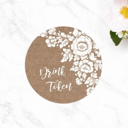 Romantic Flowers - Drink Tokens - Pack of 30