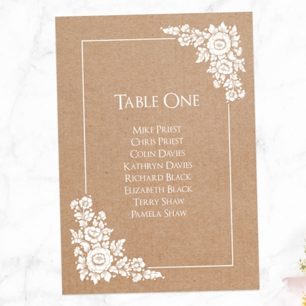 Romantic Flowers - Table Plan Cards
