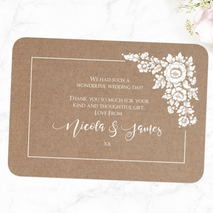 Romantic Flowers - Wedding Thank You Cards