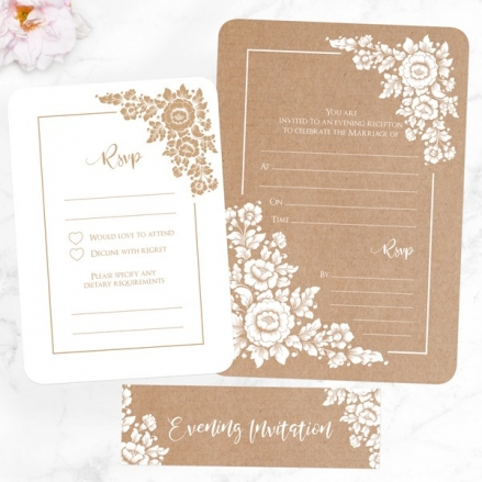 Romantic Flowers - Ready to Write Evening Invitations & RSVP