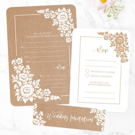 Romantic Flowers - Ready to Write Wedding Invitations & RSVP