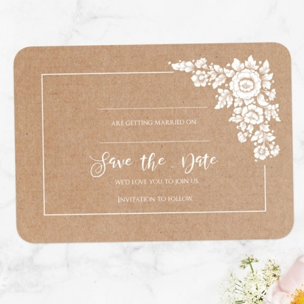 Romantic Flowers - Ready to Write Save the Date Cards