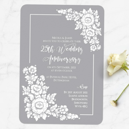 25th Wedding Anniversary Invitations - Romantic Flowers