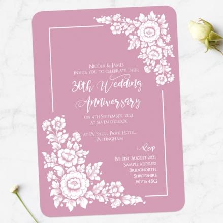 30th Wedding Anniversary Invitations - Romantic Flowers