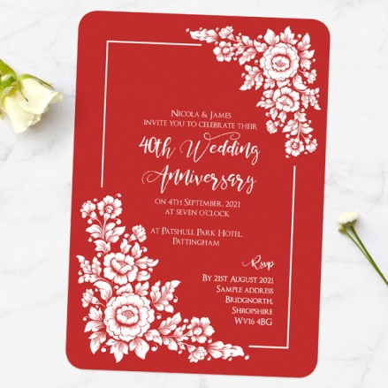 40th Wedding Anniversary Invitations - Romantic Flowers