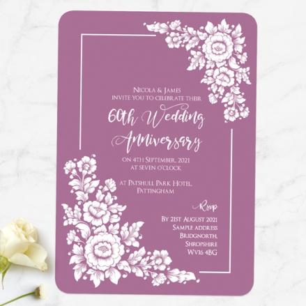 60th Wedding Anniversary Invitations - Romantic Flowers