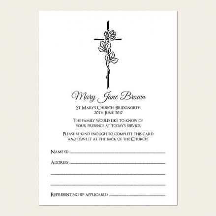 Funeral Attendance Cards - Rose & Crucifix