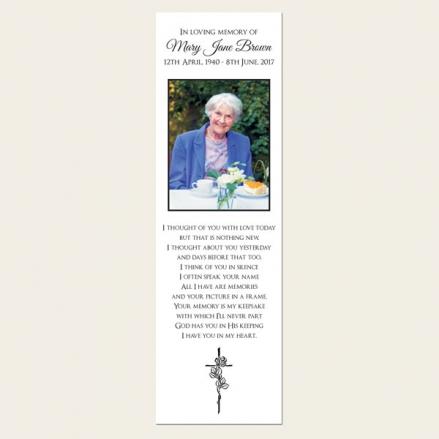 Funeral Bookmark - Rose & Crucifix