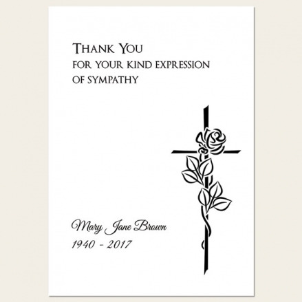 Funeral Thank You Cards - Rose & Crucifix