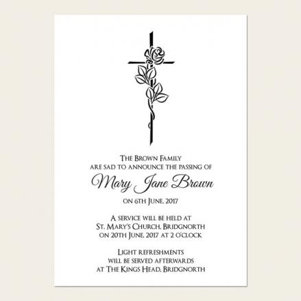Funeral Announcement Cards - Rose & Crucifix