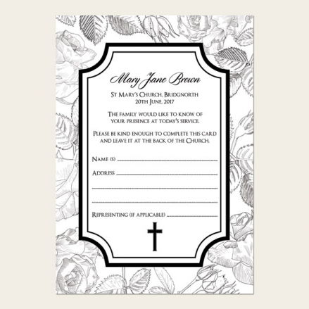 Funeral Attendance Cards - Rose Border