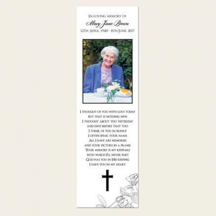 Funeral Bookmark - Rose Border