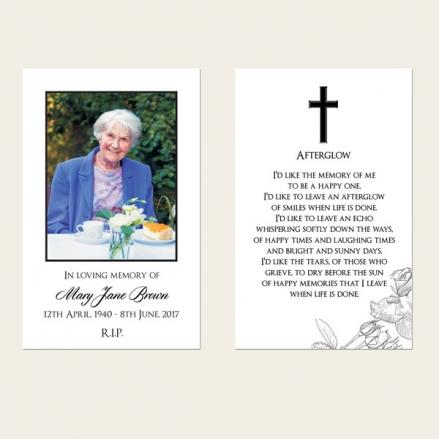 Funeral Memorial Cards - Rose Border