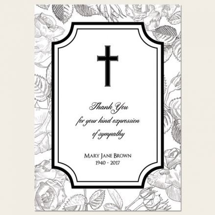 Funeral Thank You Cards - Rose Border