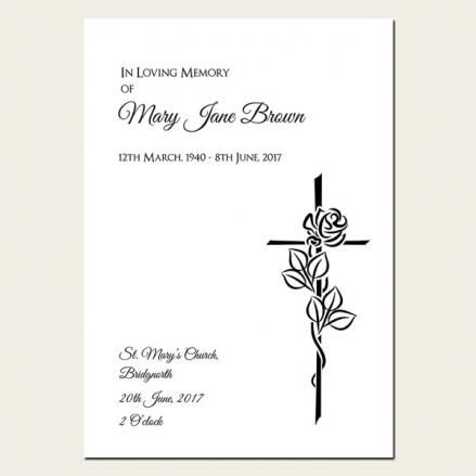 Funeral Order of Service - Rose & Crucifix