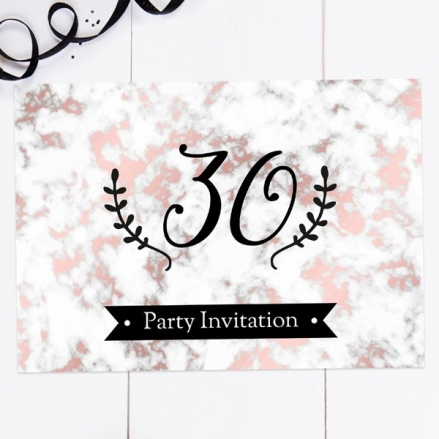 30th Birthday Invitations - Rose Gold Marble