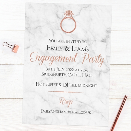 Engagement Party Invitations - Rose Gold Typography
