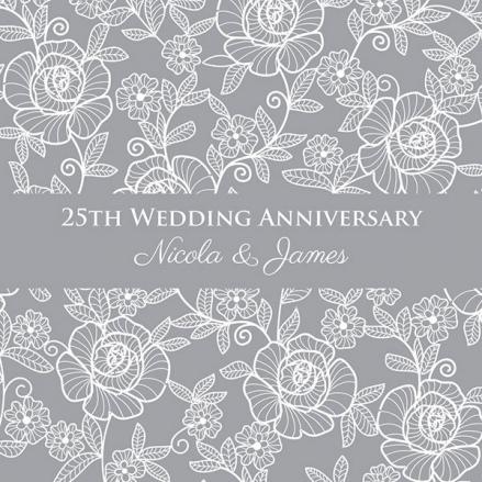 25th Wedding Anniversary Invitations - Rose Pattern