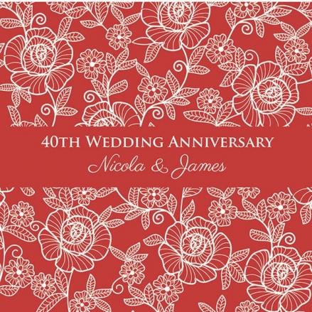 40th Wedding Anniversary Invitations - Rose Pattern