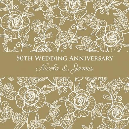 50th Wedding Anniversary Invitations - Rose Pattern